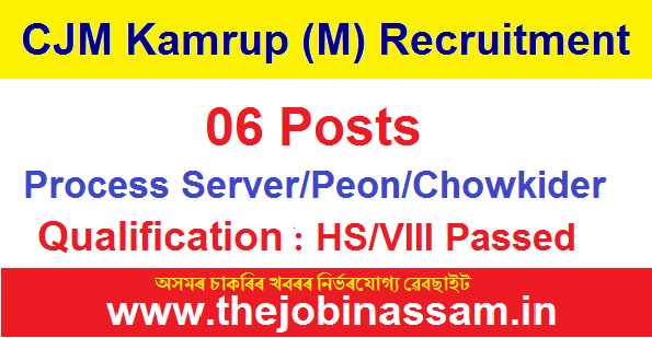 CJM Kamrup Metro Recruitment 2019