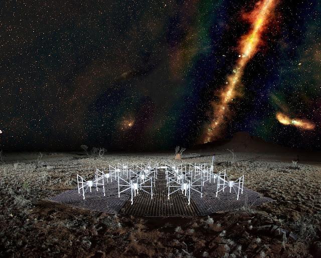 Dải Ngân Hà qua màu giả được tùy chỉnh qua máy tính dựa vào kết quả quan sát từ những bước sóng khác nhau. Hình ảnh: Natasha Hurley-Walker (Curtin / ICRAR) and the GLEAM Team.