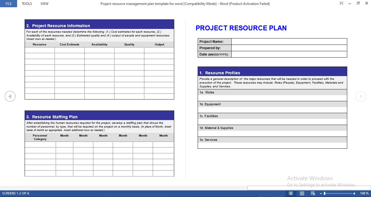 Project resource management plan template for word