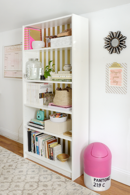 Pink and gold home office workspace  /// By Design Fixation