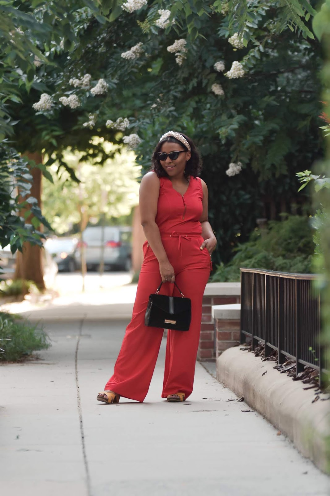 Red jumpsuit, urban decay, pearl headband, hair trends, patty's kloset, summer outfit ideas