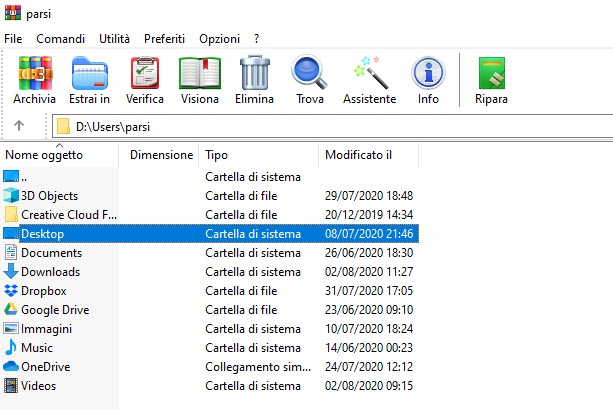 file manager di winrar