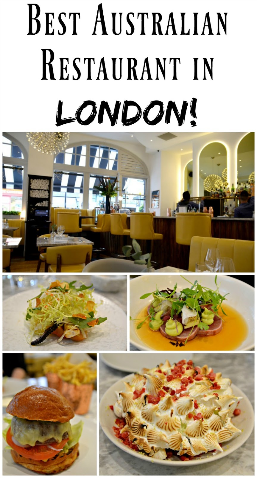 PIN FOR LATER: Hands down one of the BEST Australian restaurants in London! They do chicken salt fries, rib burgers, great seafood options, kangaroo tartare, AND pavlova and lamingtons!