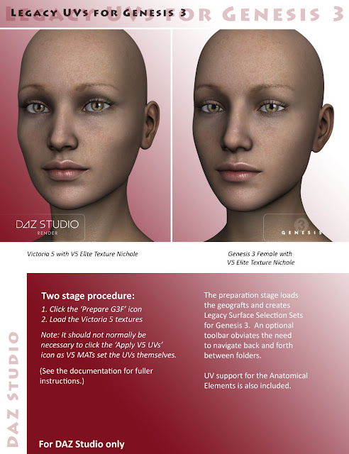 Legacy UVs for Genesis 3: Victoria 5