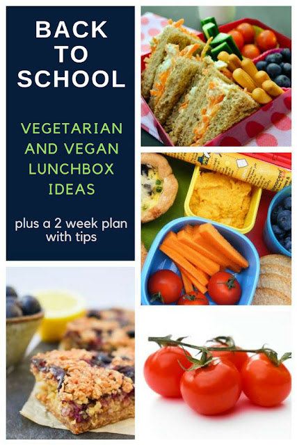 A back to school lunchbox meal plan for vegetarian and vegan children. Tips, meal planning and recipes that kids will love.