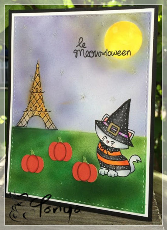 Paris Cat Halloween Card by Tonya | Newton Dreams of Paris Stamp set by Newton's Nook Designs