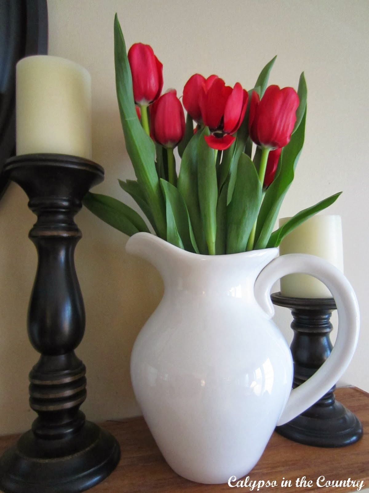 Spring Mantel with Red Tulips