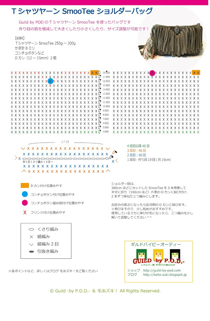 Guild by POD&毛糸ズキ!TシャツヤーンSmooTeeで編むショルダーバッグ 無料編み図