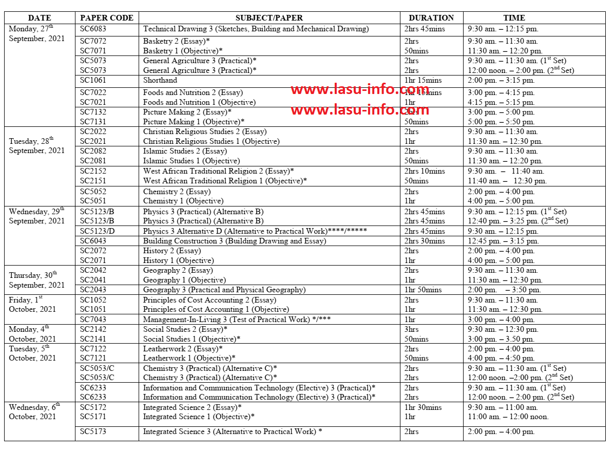 2021 WAEC Timetable for School Candidates [16th Aug - 30th Sept.]