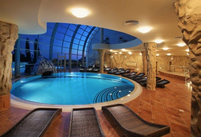 Great indoor pools with stunning views and decorations