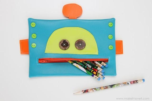 felt robot pencil case