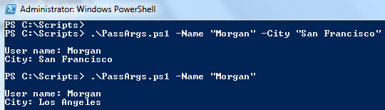 How to pass arguments to PowerShell script
