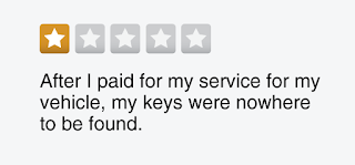 "1-star review graphic: ""After I paid for my service for my vehicle, my keys were nowhere to be found."""