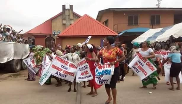 Photos: Angry women protest against Bishop of Sapele