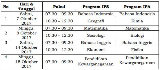 Jadwal UN untuk Pendidikan Kesetaraan Program Paket C Gelombang Kedua