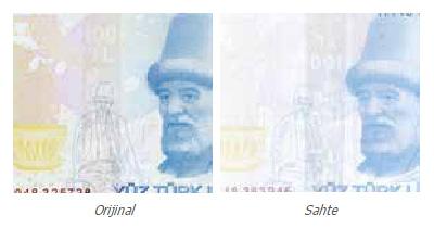 Gerçek ve sahte 100 TL üzerindeki renk değiştiren şerit baskı görünümlerinin karşılaştırılması