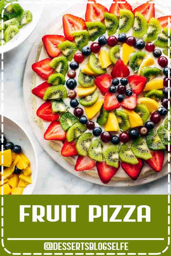 This simple fruit pizza is beautiful and delicious! A soft sugar cookie crust with a cream cheese frosting and topped with sliced fruit. #DessertsBlogSelfe #fruitpizza #dessert #summer #HealthyDesserts #withfruit #videos