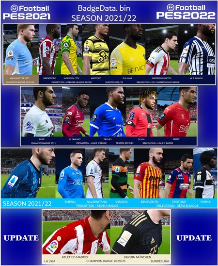 Badges Updated For The 2021-2022 Season For eFootball PES 2021