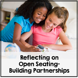 A square picture with two girls working together with the text Open Seating Building Partnerships