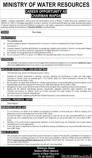 Latest jobs in Ministry on Water Resources MOWR 2021 in Pakistan - Download Application Form
