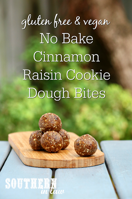 No Bake Cinnamon Raisin Cookie Dough Bites Recipe – Oatmeal Cookie Raw Bites – bliss balls, raw balls, gluten free, peanut free, sugar free, clean eating recipe, vegan