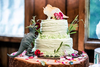 Pretty Dinosaur Wedding Cake Topper