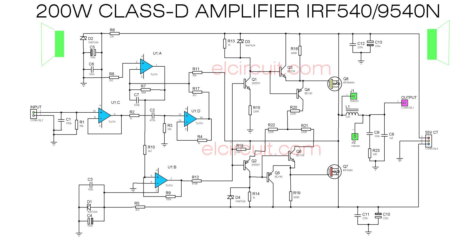 Class D Car Amplifier Circuit Carsjpcom Diagram 200w Power Irf540 Irf9540 Electronic