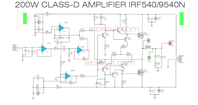 200W Class D Power Amplifer Circuit Diagram