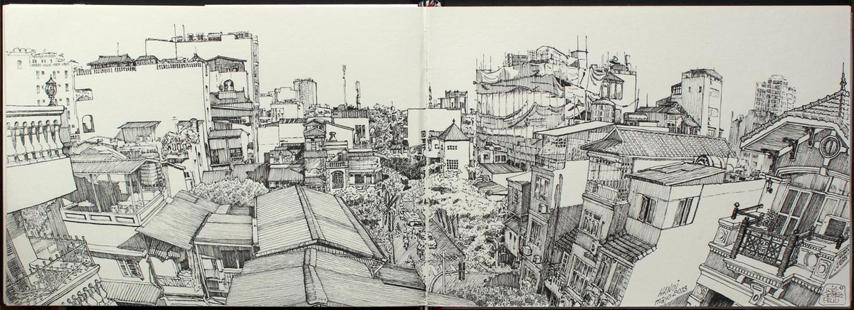 14-Roofs-of-Hanoi-Luis-Gómez-Feliu-Elucubros-Urban-Sketches-and-Interior-Architectural-Drawings-www-designstack-co