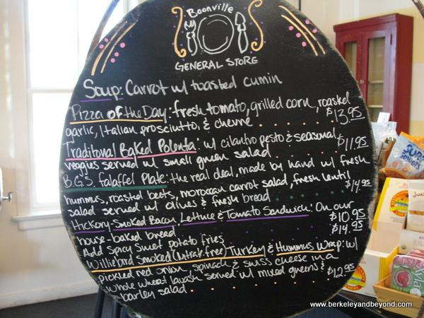 menu board at Boonville General Store in Boonville, California