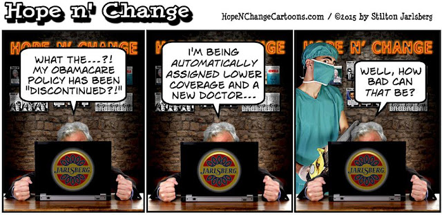 obama, obama jokes, political, humor, cartoon, conservative, hope n' change, hope and change, stilton jarlsberg,  obamacare, health insurance, blue cross, ppo, hmo, bonus, premiums, exhanges