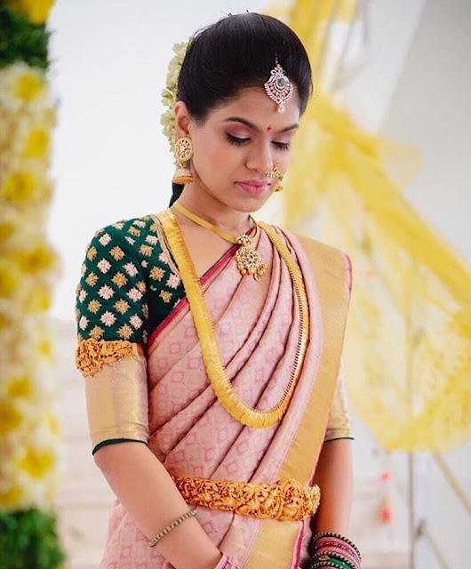 Bride in Jumbo Jhumkas Kasumala