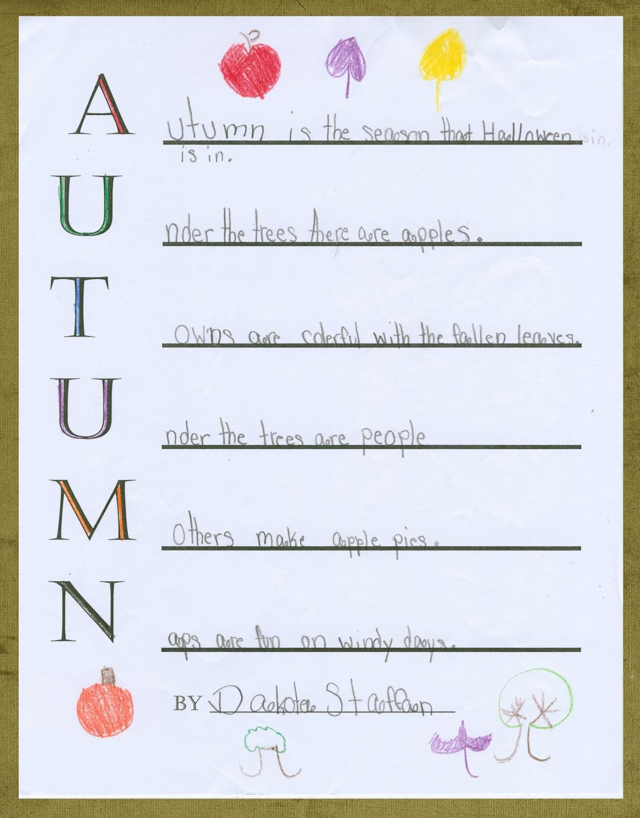 Autumn Acrostic Poem Worksheet   Printable Worksheets and Activities for  Teachers [ 1600 x 1252 Pixel ]