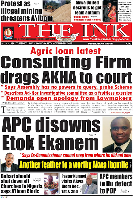 Latest Edition of THE INK NEWSPAPER, Uyo , Akwa Ibom State