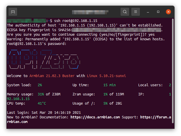 First SSH connection to Orange Pi Armbian