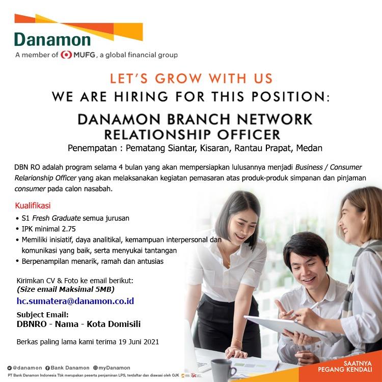 Lowongan Kerja Pt Bank Danamon Indonesia Tbk Medan Juni 2021 Lowongan Kerja Medan Terbaru Tahun 2021