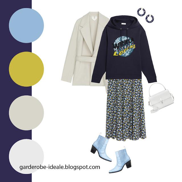Синий свитшот оверсайз с легкой юбкой с цветочным принтом