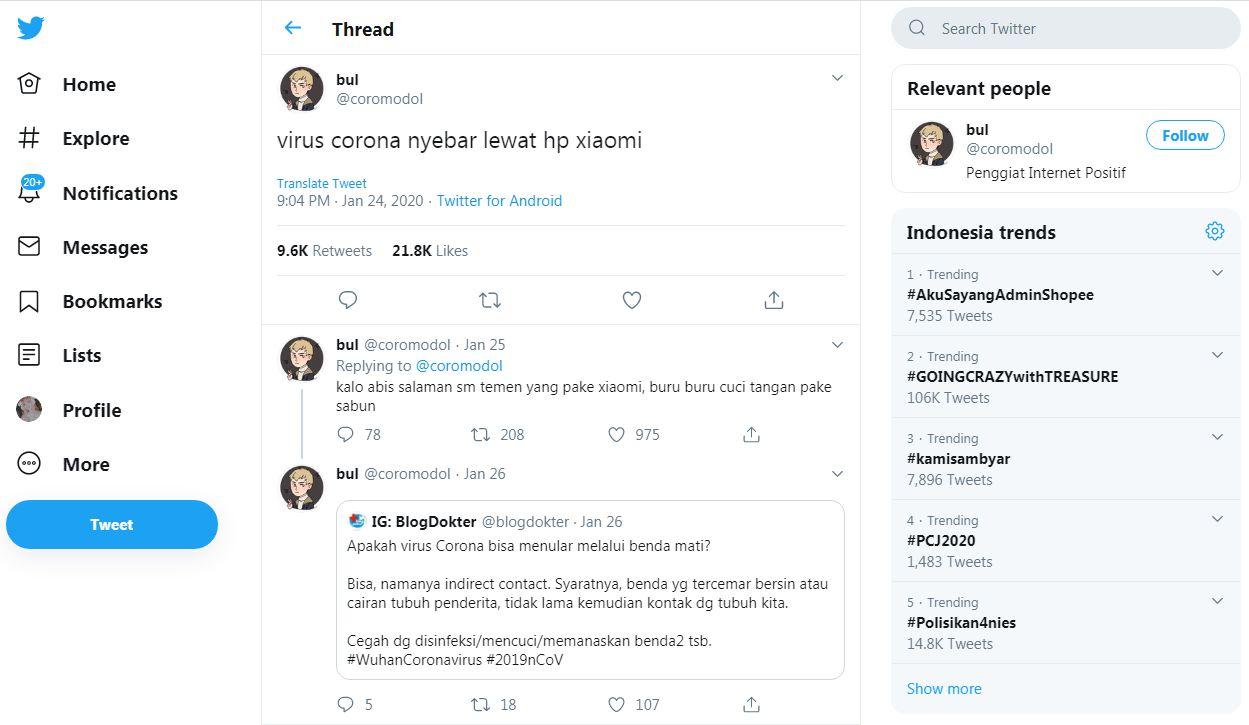 Viral Virus Corona Menyebar Lewat HP Xiaomi, Ini Penjelasan IDI