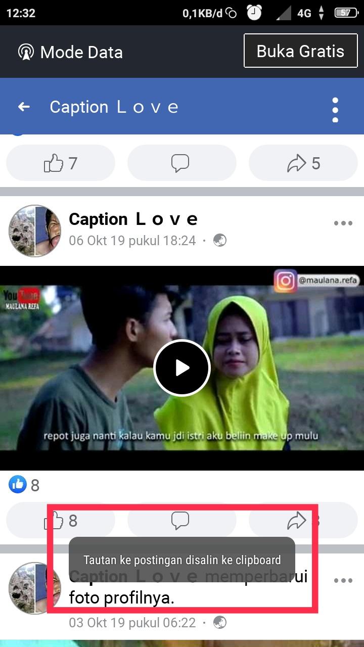 Cara copy link video Facebook