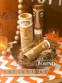 tiki bar, tikis, tiki culture, tiki hut, tropical decor, happy HULAdays, home decor, diy decor, holiday home decor, holiday, nativity