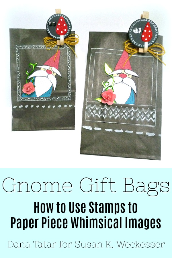 How to Use a Gnome Stamp to Paper Piece Whimsical Images onto DIY Gift Bags