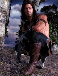 FantasyRomance+ShifterRomance+WendyMay+Redhead Male crouching down among ruins