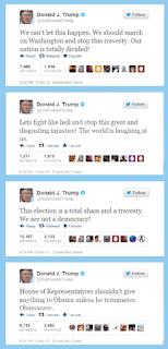 A screenshot of four tweets that landed Donald Trump in hot water.