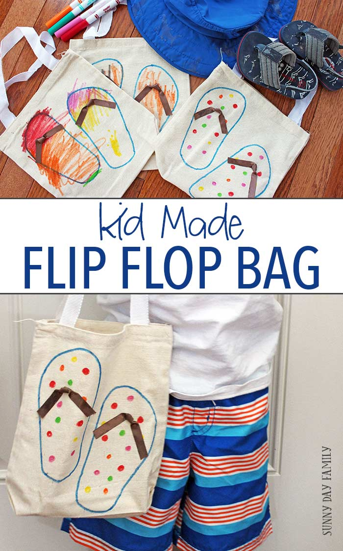 This easy DIY tote bag is perfect for summer and makes a great keepsake too! Make an adorable flip flop bag for all your summer gear - a super cute summer project for kids and adults too