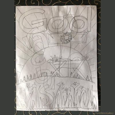 Gracious God sketch of the cradled Christ, crown of thorns, cross of Christ, Easter lilies, risen sun (Son of God) with rays of hope, water of baptism, trees of the field—doodled during a bible study class.
