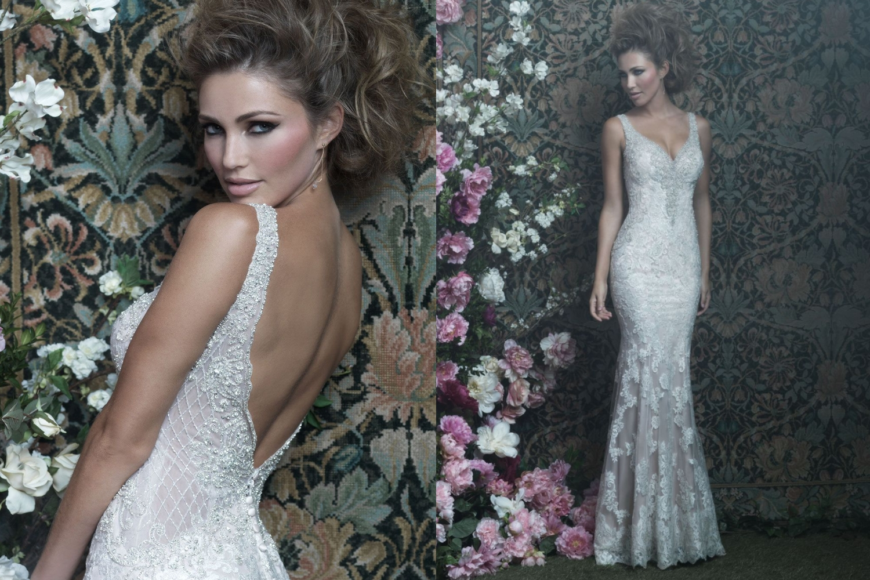 beautiful bride is weeding dress