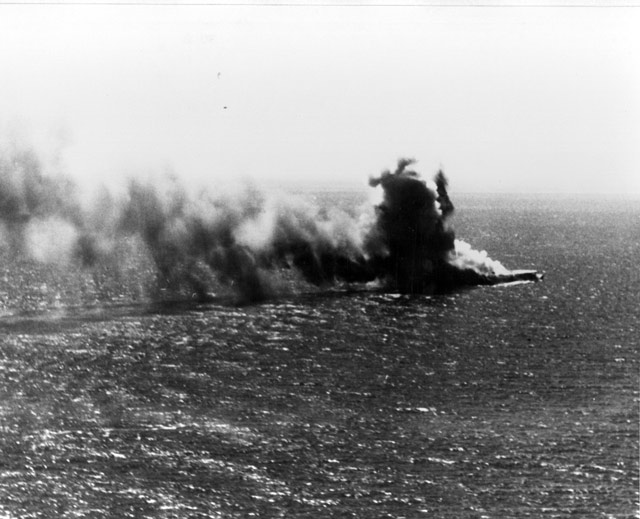 Japanese aircraft carrier Shoho burning, 7 May 1942 worldwartwo.filminspector.com