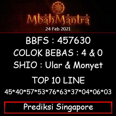 Prediksi Angka Singapore 24 Februari 2021