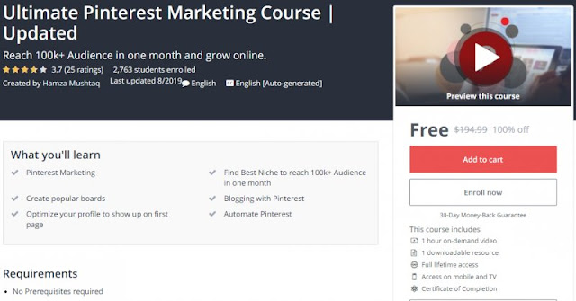 [100% Off] Ultimate Pinterest Marketing Course | Updated| Worth 194,99$
