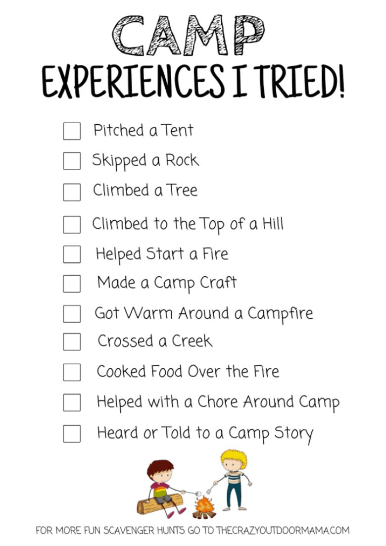 camp experiences scavenger hunt for kids